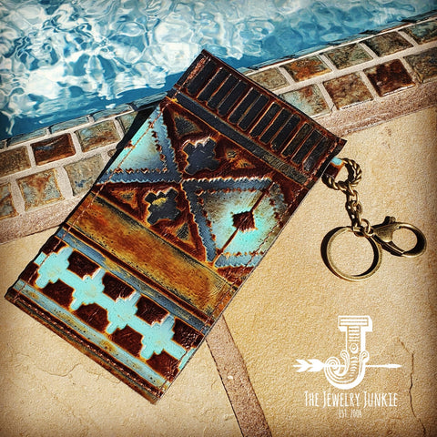 Embossed Leather Sunglasses Case w/ Keychain-Blue Navajo 100b