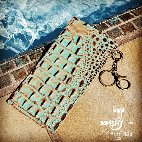 Embossed Leather Sunglasses Case w/ Keychain-Turquoise Gator 100d