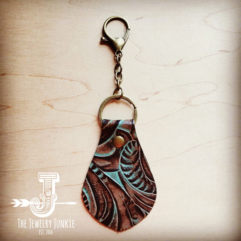 Embossed Leather Key Chain - Turquoise Brown Floral 700u