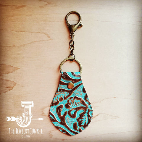 Embossed Leather Key Chain - Cowboy Turquoise 700v