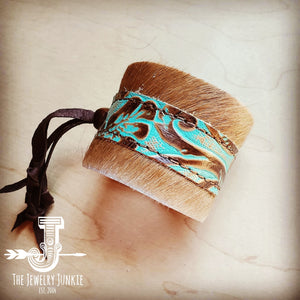 Leather Cuff w/ Adjustable Tie in Hair-on-Hide w/ Cowboy Turquoise 001b