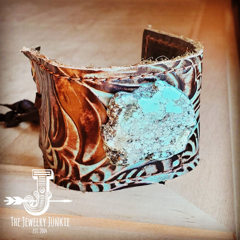 Leather Cuff w/ Tie-Turquoise Brown Floral w/ Turquoise Slab 001d