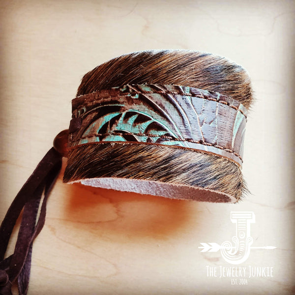 Leather Cuff w/ Adjustable Tie Turquoise Brown Floral 001a