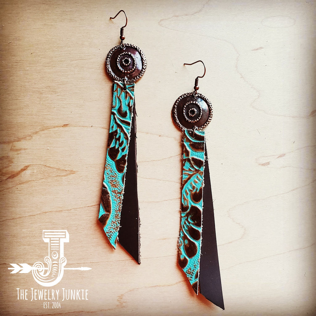 Leather Rectangle Earrings in Cowboy Turquoise 203g