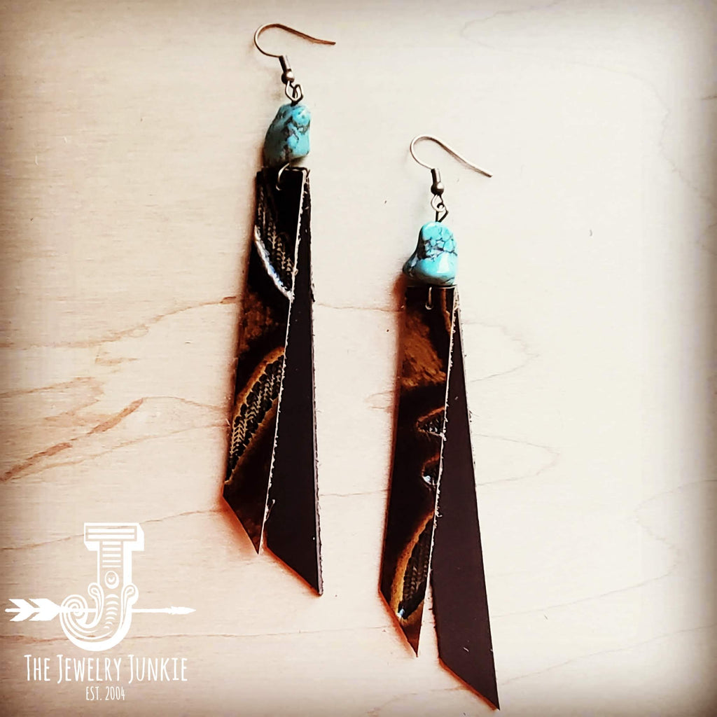 Leather Rectangle Earrings in Laredo 203f