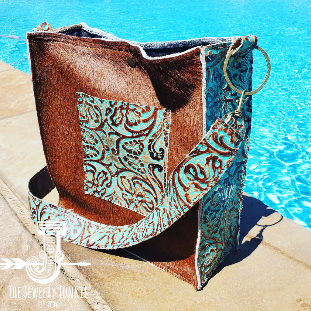 Hair on Hide Box Handbag w/ Cowboy Side Accents 503y