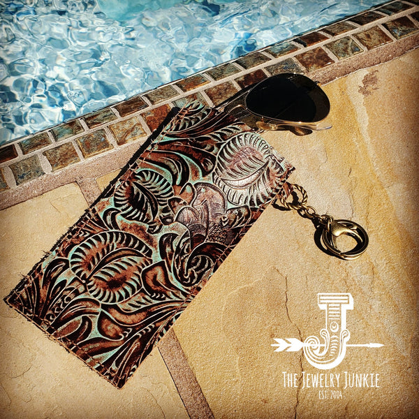 Embossed Leather Sunglasses Case w/ Keychain-Turquoise Feather 100h