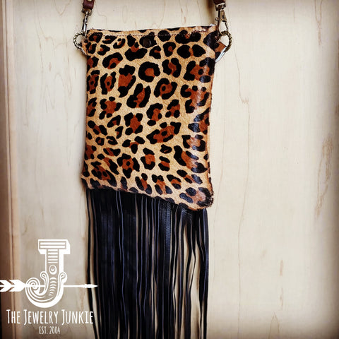 Small Crossbody Handbag w/ Hair-on-Hide Leopard Leather 504d