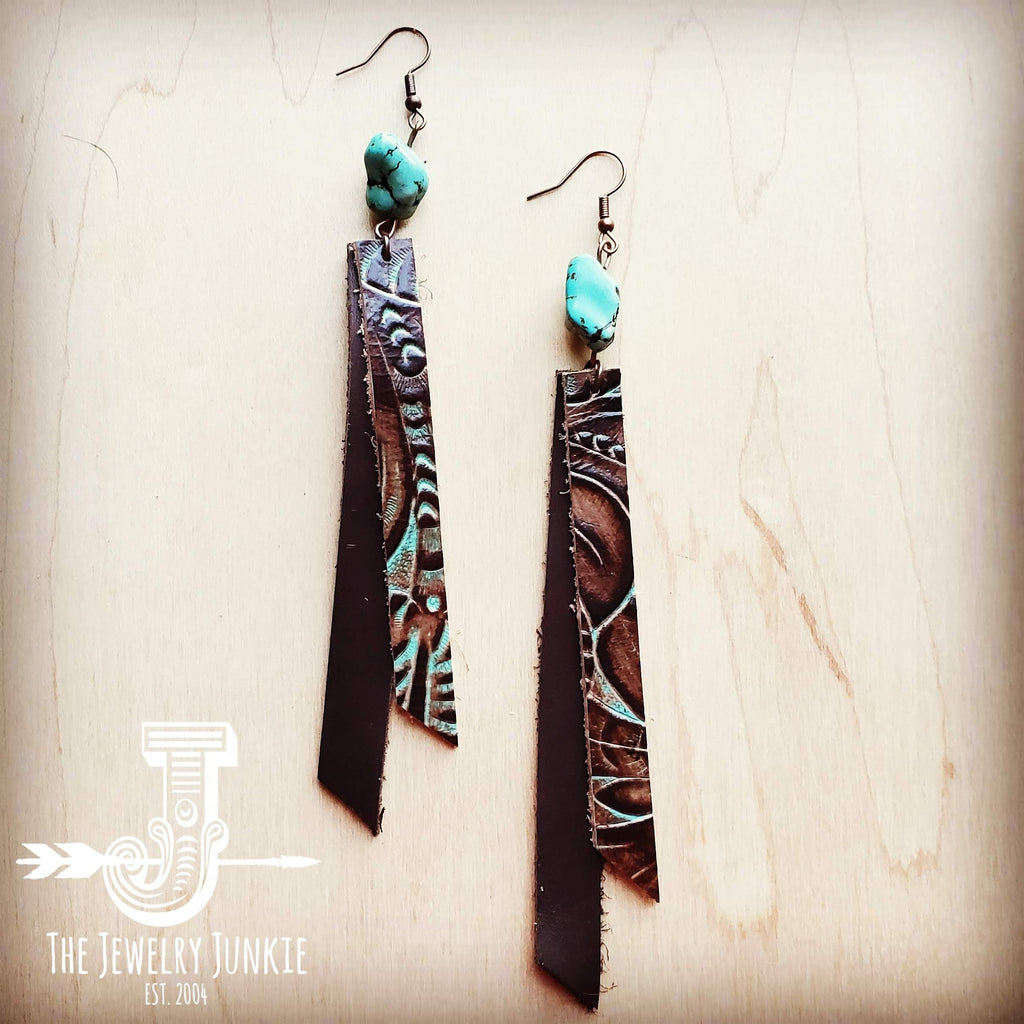 Leather Rectangle Earrings in Turquoise Brown Floral 203e