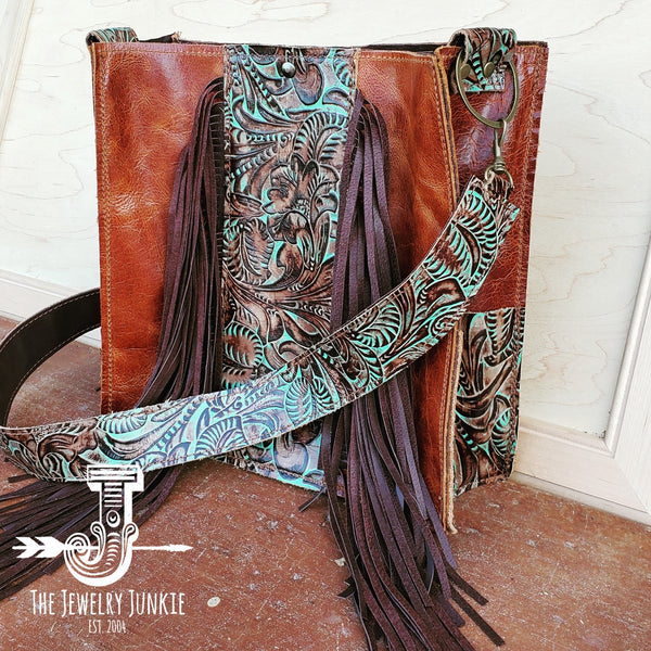 Leather Box Handbag w/ Turquoise Brown Floral Accents 504f