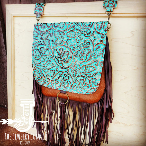 Hair-On-Hide w/ Cowboy Turquoise Flap Crossbody Handbag 504j