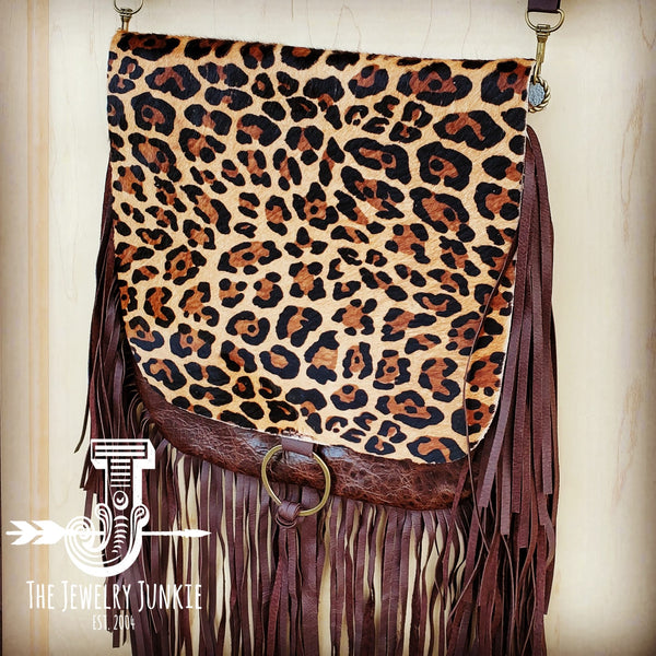 Hair-On-Hide w/ Leopard Flap Crossbody Handbag 504n