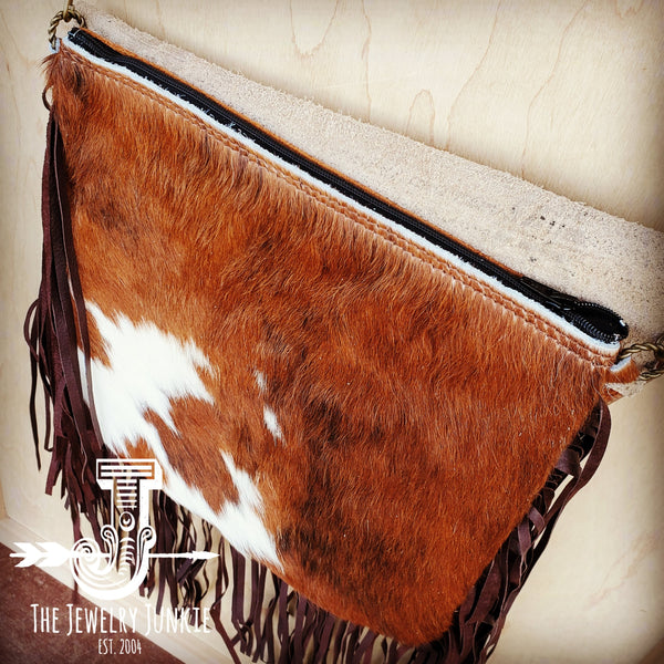 Hair-On-Hide w/ Steer Head Flap Crossbody Handbag 504L