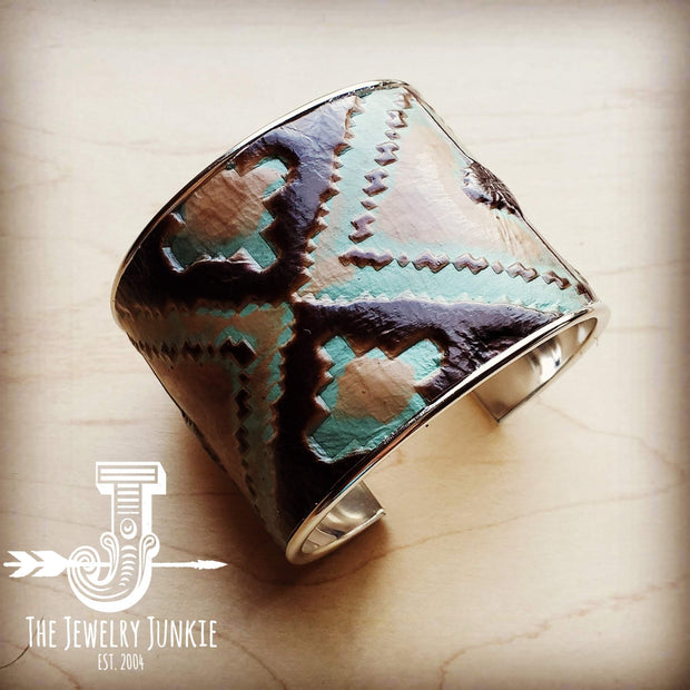 Wide Cuff Bangle Bracelet in Turquoise Navajo Leather 001m 1