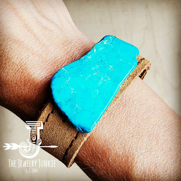 Narrow Suede Leather Cuff w/ Tie and  Turquoise Slab (001r)