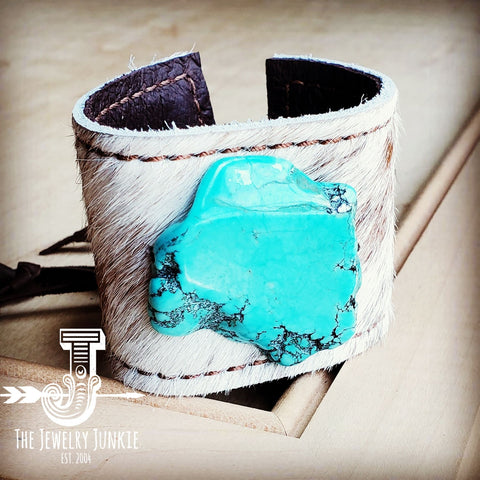 Leather Cuff w/ Tie-Spotted Hair-on-Hide w/ Turquoise Slab (001p)