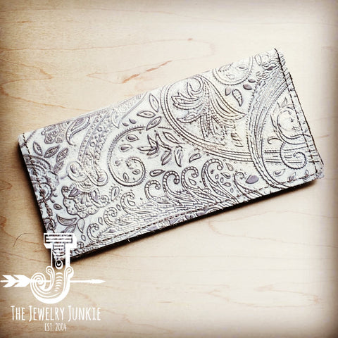 Embossed Leather Wallet in Oyster Paisley 301f