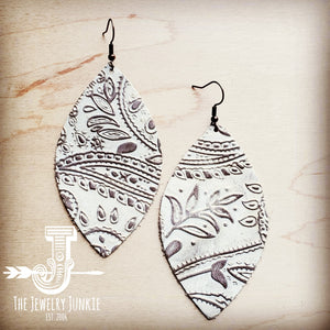 Leather Oval Earring-Oyster Paisley 203i