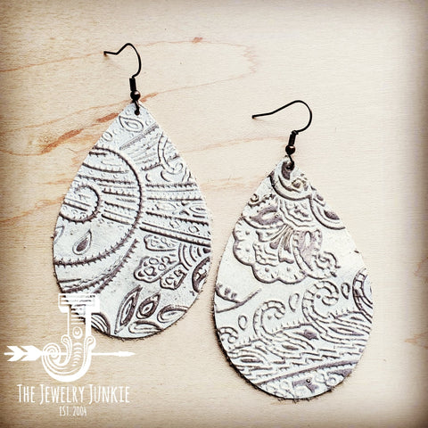 Leather Teardrop Earring-Oyster Paisley 203h