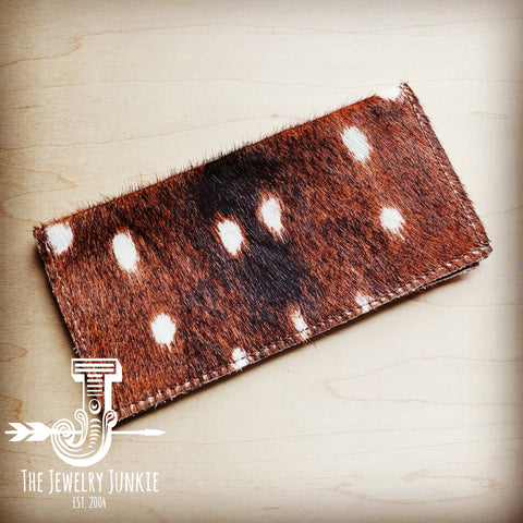 Hair-On-Hide Leather Wallet in Axis Deer Hide 301g