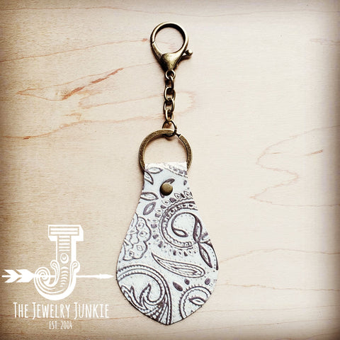 Embossed Leather Key Chain - Oyster Paisley 700x