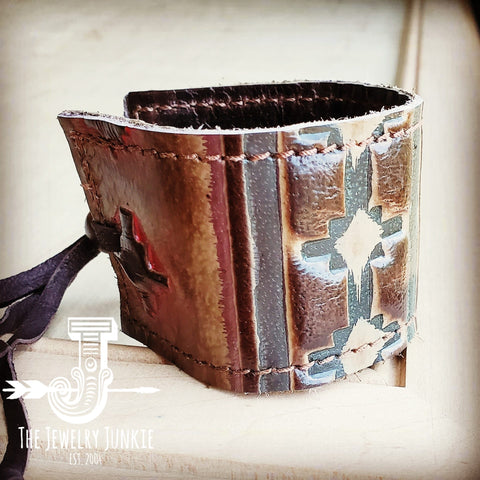 Leather Cuff w/ Adjustable Tie- Navajo 001o