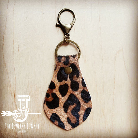Hair-on-Hide Leather Key Chain - Leopard 700z