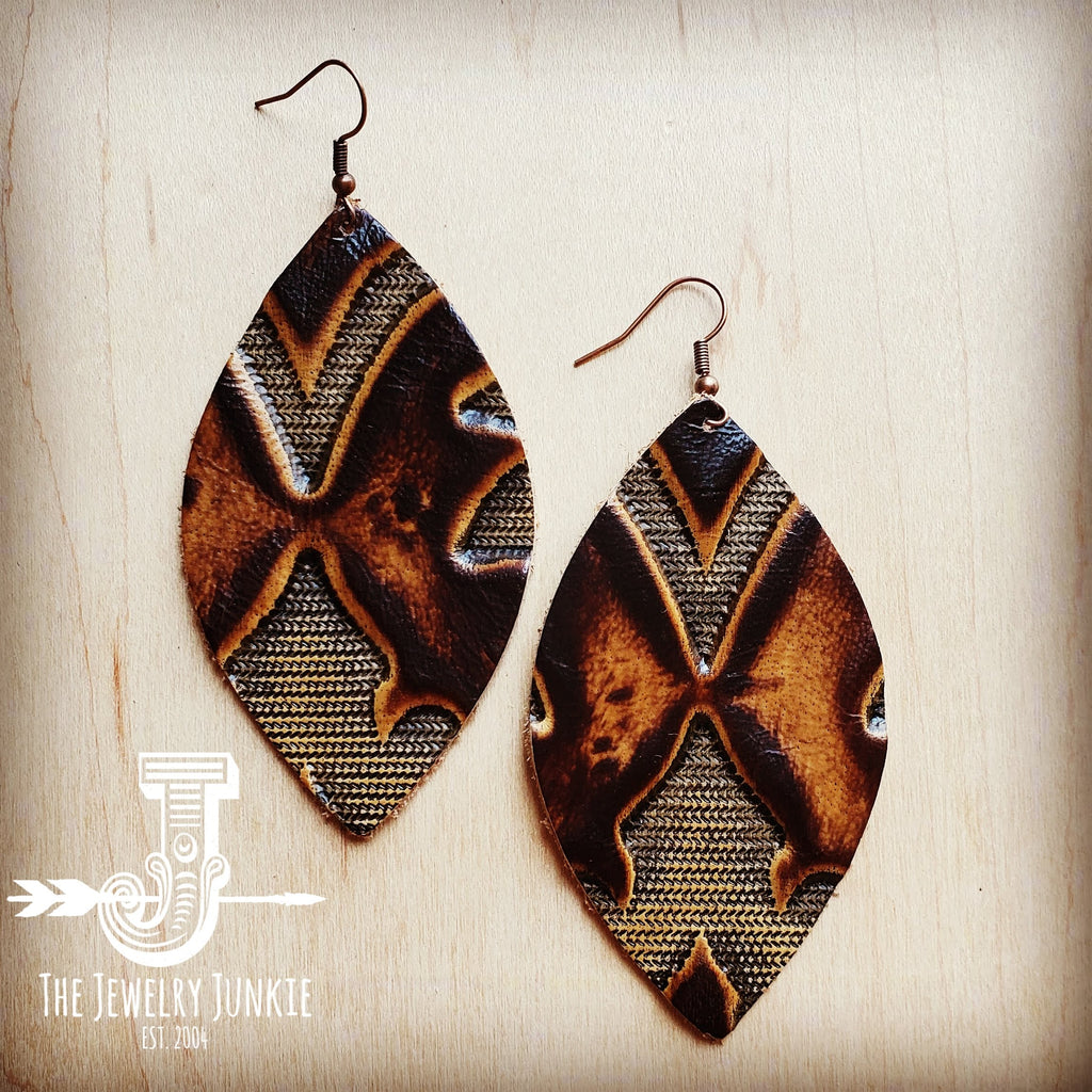 Leather Oval Earring-Brown Laredo 203j
