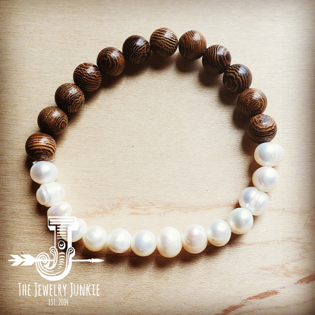 Freshwater Pearl and Wood Bracelet 801q