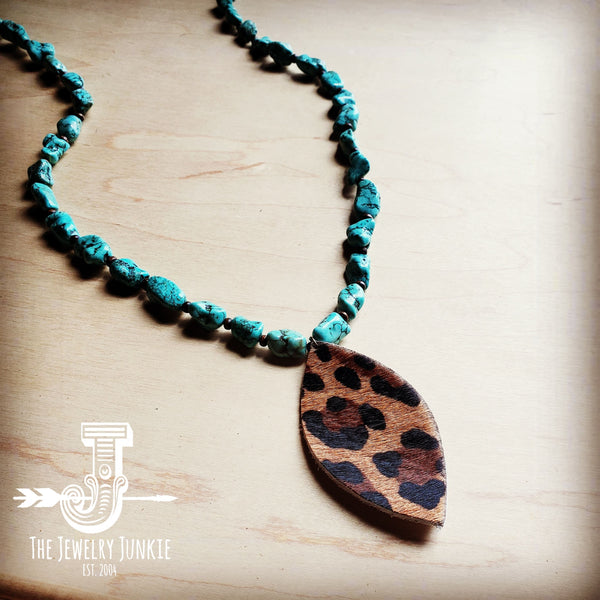 Boho Beaded Turquoise Necklace w/ Leather Leopard Pendant 251a