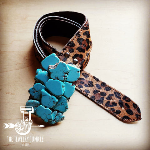 Hair on Hide Leopard Leather Belt w/ Turquoise Slab Belt Buckle 901m