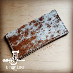 Hair-on-Hide Leather Wallet-Spotted Brindle 301h