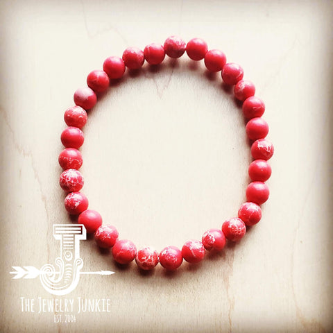Bracelet Bar-Red Regalite Beads 804h