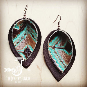 Leather Double Stacked Earrings-Brown & Santa Fe 203m