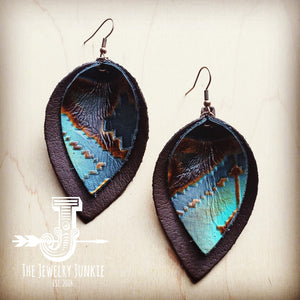 Leather Double Stacked Earrings-Blue Navajo 203q