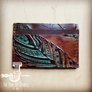 Embossed Leather Credit Card Holder-Turquoise Feather 601k