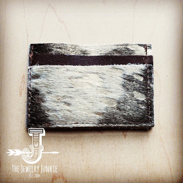Hair on Hide Leather Credit Card Holder-Mixed Metallic 601p