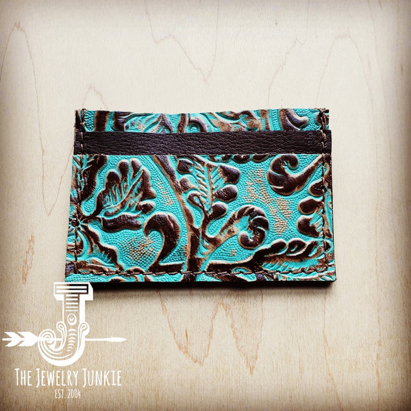 Embossed Leather Credit Card Holder- Cowboy Turquoise 601b