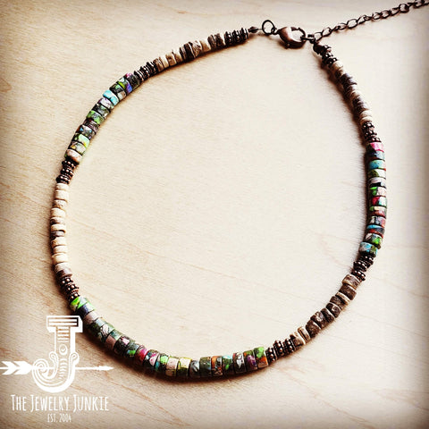 Regalite Gemstone Beaded Collar Necklace 250s
