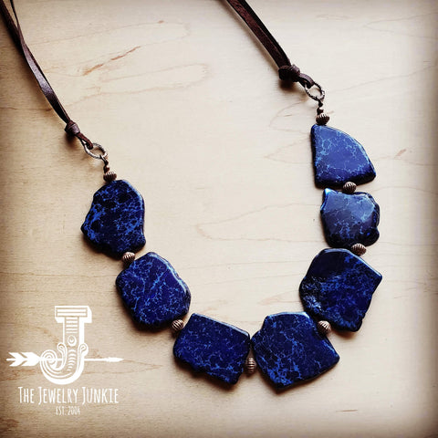 Navy Blue Regalite Slab Necklace 246g