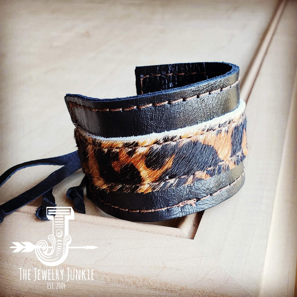 Leather Cuff w/ Adjustable Tie in Black and Leopard 001w