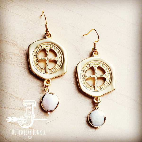 Matte Gold Medallion Earrings with Freshwater Pearl Dangle 203r
