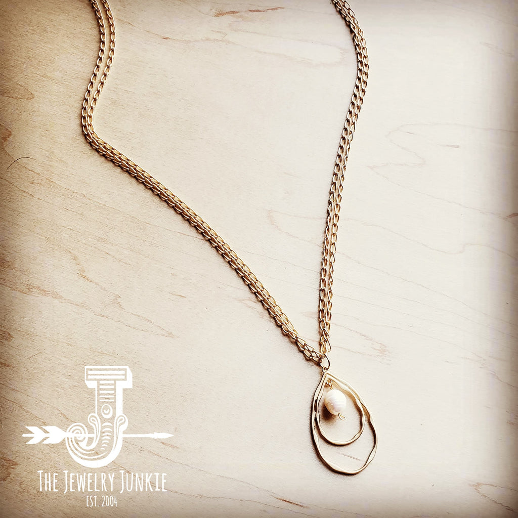 Matte Gold Long Necklace w/ Double Hoop Pearl Pendant 251j