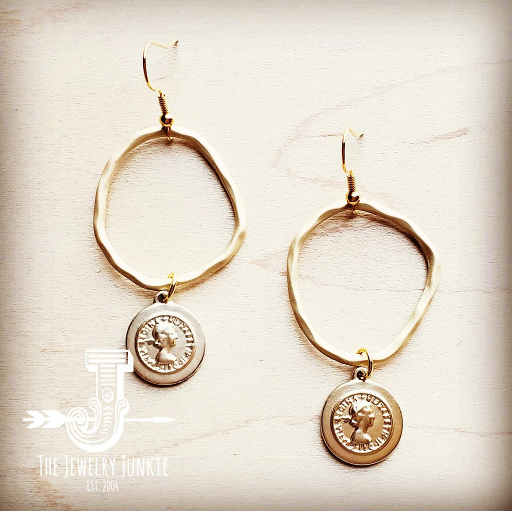 Matte Gold Hoop Earrings with Coin Dangle 203v