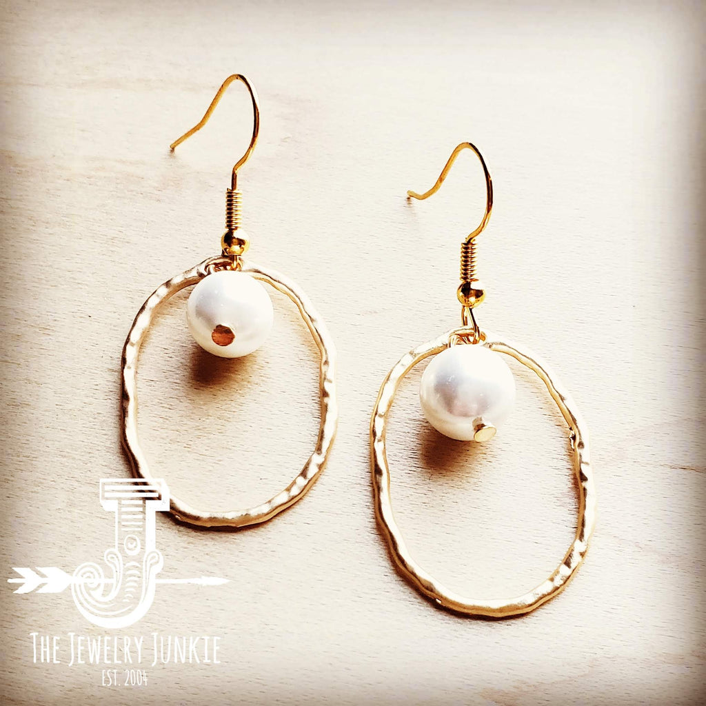 Matte Gold Hoop Earrings with Freshwater Pearl Dangle 203s