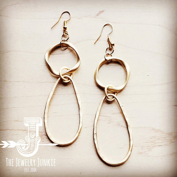 Matte Gold Hoop Earrings with Oval Hoop Dangle 203u