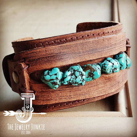 Dusty Leather Wide Cuff with Blue Turquoise Chunks 001z