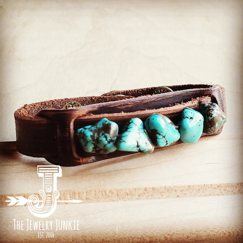 Dusty Leather Narrow Cuff with Blue Turquoise Chunks 002a