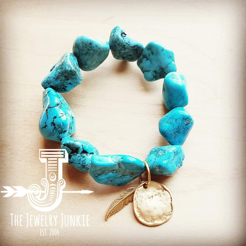 Blue Turquoise Stretch Bracelet with Matte Gold Accents 804q
