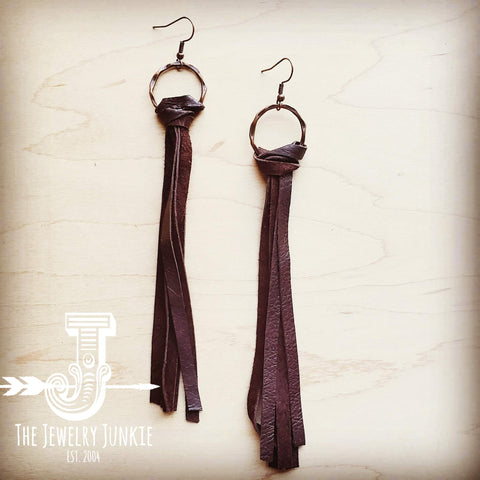 Leather Fringe Tassel Earring in Dark Brown 203y